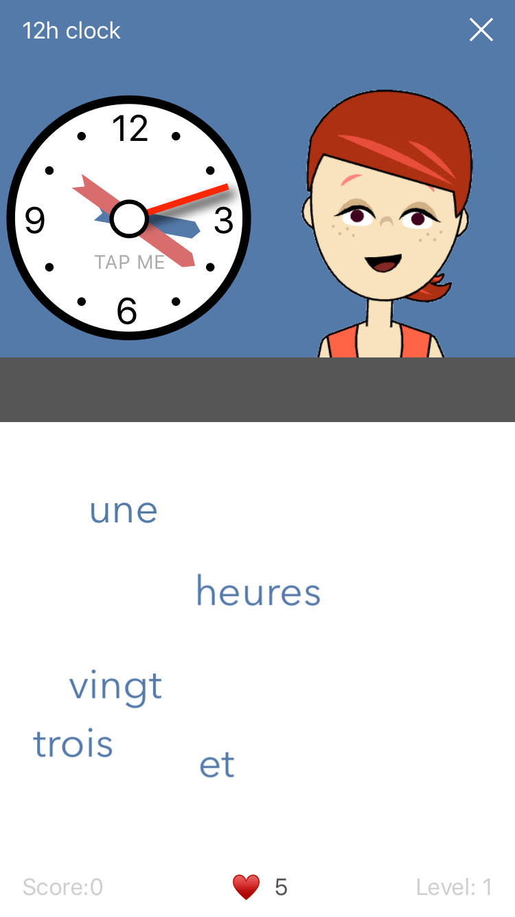 Game screen for Learn French. Time. a French learning App