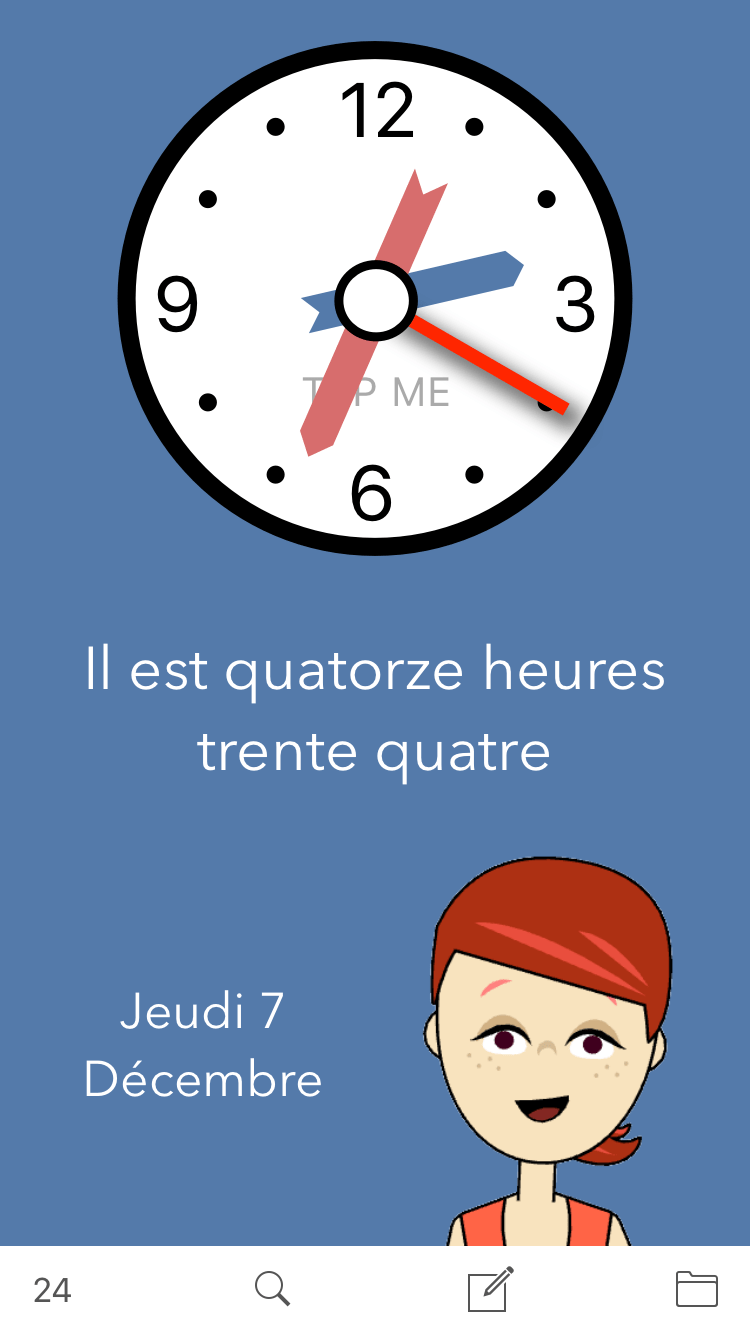Main screen for Learn French. Time. a French learning App