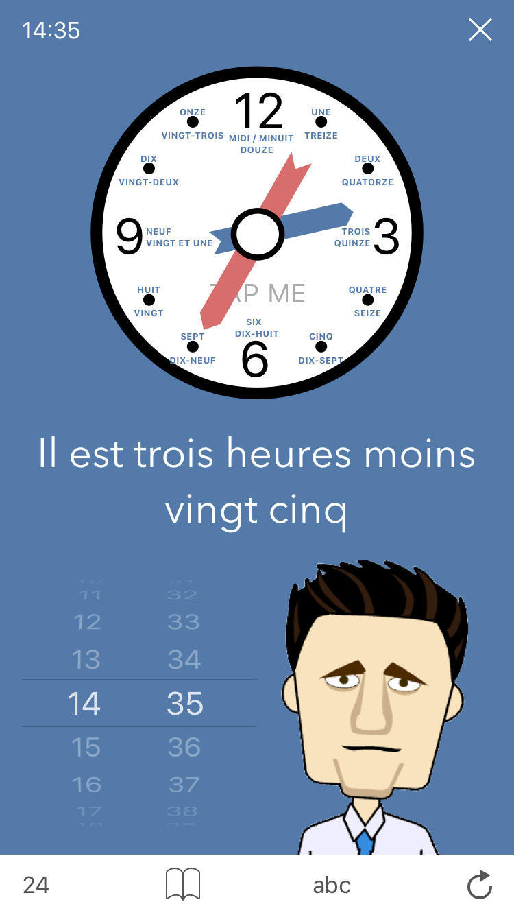 Practice screen for Learn French. Time. a French learning App